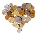 Coins shape heart white background Stock Photo