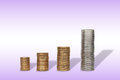 Coins stack of investment growth Royalty Free Stock Images