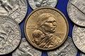 Coins of USA. Sacagawea Dollar Royalty Free Stock Photo