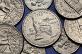 Coins of USA. US 50 state quarter Royalty Free Stock Photo