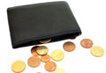 Coins on wallet money black euro Royalty Free Stock Photos