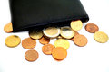 Coins on wallet Royalty Free Stock Photo