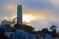 Coit Tower as view from Oakland Bay Bridge in San Francisco - CA Royalty Free Stock Photo
