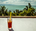 Coke glass on table sea from view point Royalty Free Stock Image