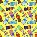 Cola character cartoon plastic bottles,Seamless pattern,sparkling water flat vector illustration Royalty Free Stock Photo