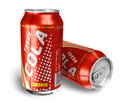 Cola drinks in metal cans Stock Photo