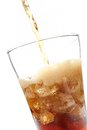 Cola a glass of with ice cubes Royalty Free Stock Image