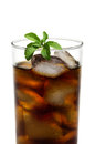 Cola in glass with stevia leave Royalty Free Stock Images