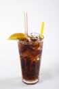 Cola in highball glass with lemon slice Stock Image