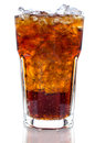 Cola with ice in a glass isolate on white background Stock Photo