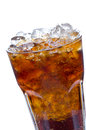 Cola with ice in a glass isolate on white background Royalty Free Stock Photo