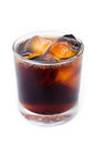 Cola with ice in a glass isolate on white background Stock Images
