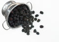 Colander with Spilled Blackberries Stock Images