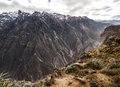 Colca canyon overview view from hiking path in chivay near arequipa peru Stock Image