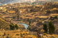 Colca canyon view from hiking path in chivay near arequipa peru Royalty Free Stock Images