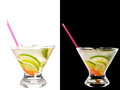 Cold alcoholic cocktail a couple of identical cocktails on the black background Stock Images