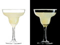 Cold alcoholic cocktail a couple of identical cocktails isolated on white and black Stock Photo
