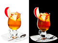 Cold alcoholic cocktail a couple of identical cocktails isolated on white and black Stock Image