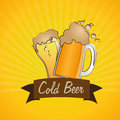 Cold beer bar over yellow background vector illustration Royalty Free Stock Photos