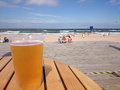 Cold beer on a hot day the beach summer vacation Stock Photo