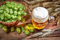 Cold beer made ​​of fresh ingredients on old wooden table Stock Images