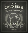 Cold beer poste poster on chalkboard Royalty Free Stock Photo