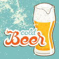 Cold beer vector illustration in old style Stock Images