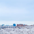 Cold blue sky over town and snow woods in winter Royalty Free Stock Photo