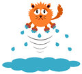 Cold cat a cartoon illustration of a who jumped out of the water Royalty Free Stock Photos