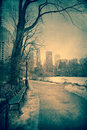 Cold central park vintage toned view of nyc on winter day Royalty Free Stock Photography