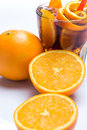 Cold cocktail with orange fruit over white background Royalty Free Stock Image