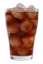 Cold cola in a glass with ice Stock Image