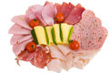 Cold cuts plate of with sausage and cheese Royalty Free Stock Images