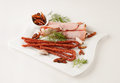 Cold cuts on the white plate Royalty Free Stock Photography