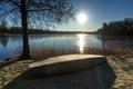 Cold day swedish sunrise idyllic surise over lake in Royalty Free Stock Images