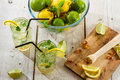 Cold drink with fresh citrus fruit closeup of Stock Image