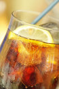 Cold drink with lemon and ice Royalty Free Stock Photo
