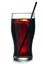 Cold drink with straw glass of cola ice cubes summer refreshing Royalty Free Stock Photo
