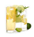 Cold drinks various on white background Royalty Free Stock Images
