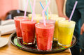 Cold drinks- vegan smoothies Royalty Free Stock Photo
