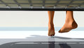 Cold feet pair of hovering above a cool floor Stock Image
