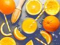 Cold fresh refresher orange juice on black background with liqui Royalty Free Stock Photo