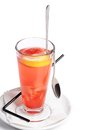 Cold fruit tea with an orange red Royalty Free Stock Photo