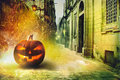 Cold Halloween night in the city Royalty Free Stock Photo