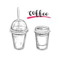 Cold and Hot Coffee. Drinks. Vector hand drawn illustration. Sketch style. Royalty Free Stock Photo