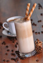 Cold ice coffee with chocolate Stock Images
