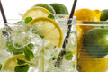 Cold lemon drink for summer closeup of Royalty Free Stock Photography