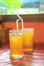 Cold lemon tea in glasses Stock Image