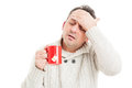 Cold man with high fever and headache Royalty Free Stock Photo