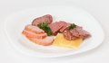 Cold meats on plate and cheese white Stock Image